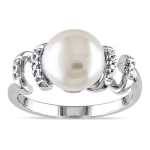 Miadora Sterling Silver FW Pearl and Diamond Ring